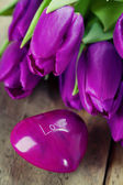 Heart and tulips — Stock Photo