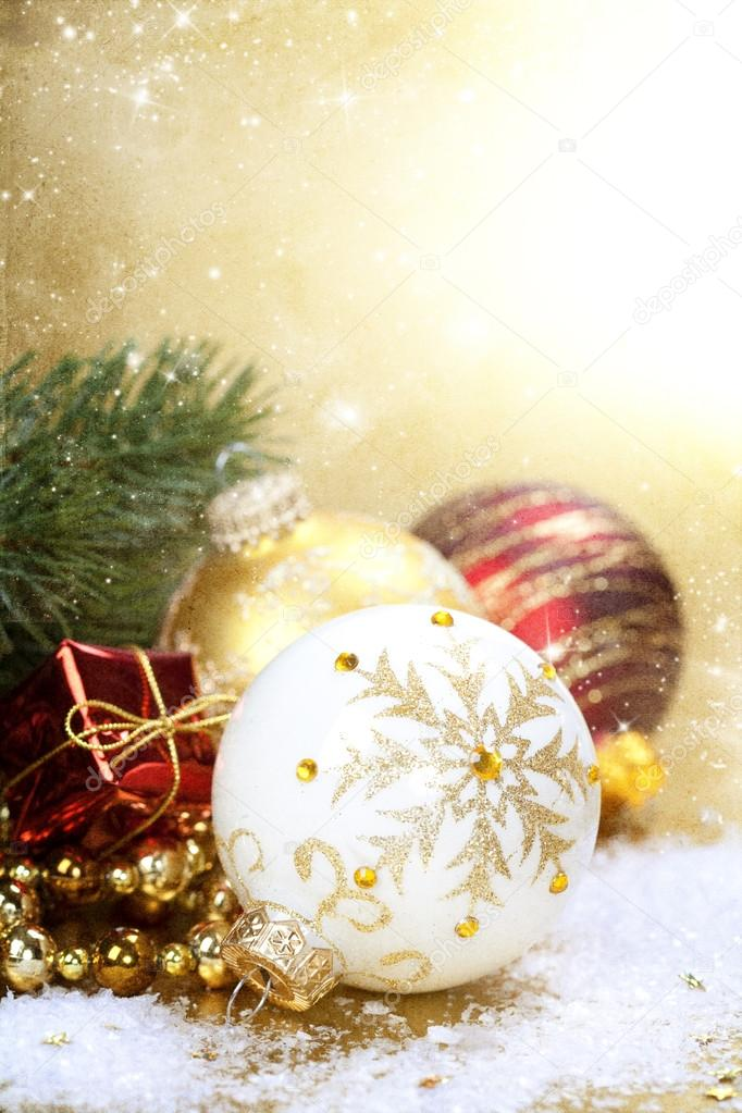 Christmas composition with christmas balls — Stock Photo #15436249