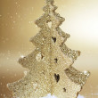 Gold christmas tree — Stock Photo
