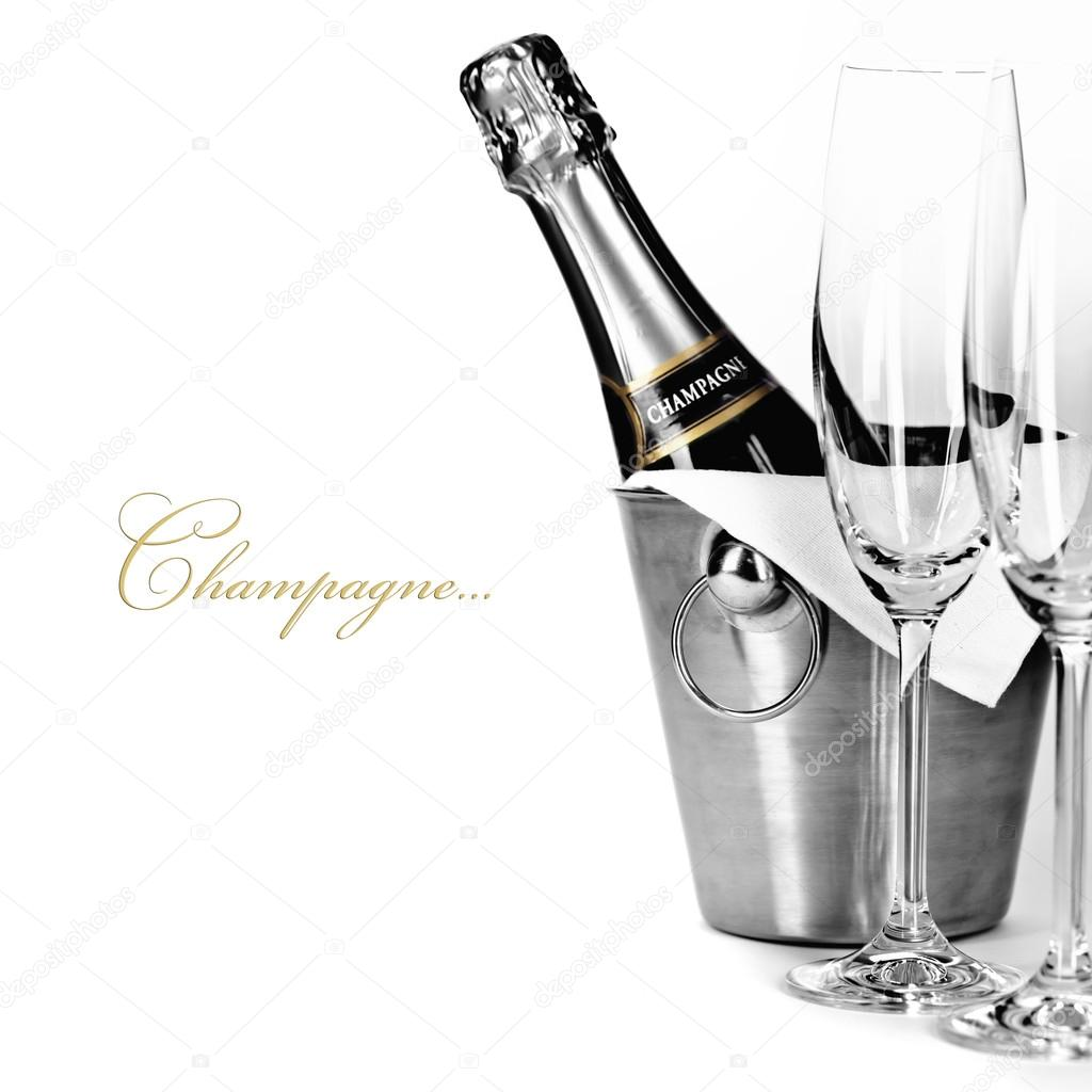 Champagne bottle in cooler and two champagne glasses (with easy removable sample text) — Stockfoto #17407981
