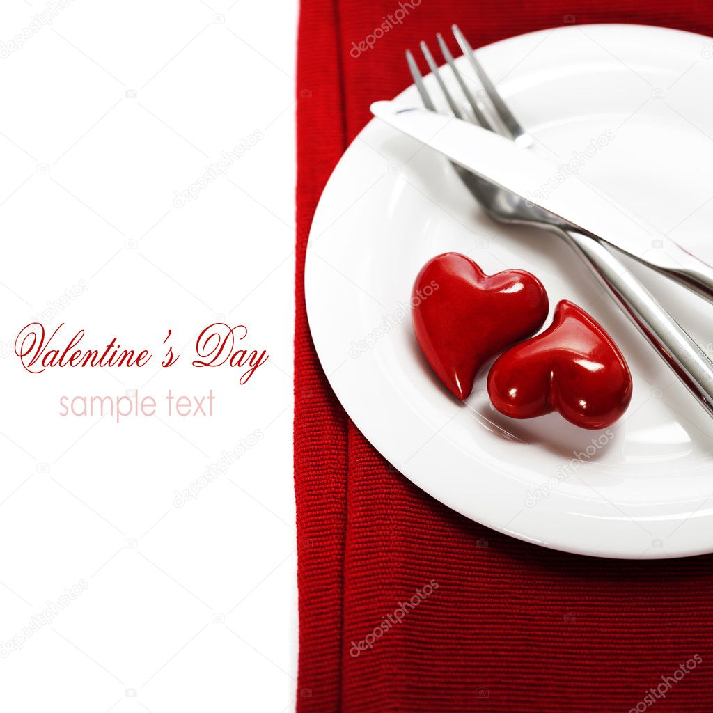 Hearts on a plate. Valentine's day (with sample text)  Stock Photo #17412517