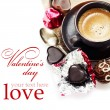 Chocolate and coffee for Valentine — Stok fotoğraf