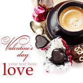 Chocolate e café para o dia dos namorados — Fotografia Stock