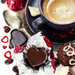 Chocolate and coffee for Valentine - Stock Photo
