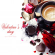 Red roses and coffee for Valentine — ストック写真