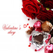 Red roses and hearts for Valentine — Stock Photo