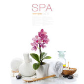 Spa composition with beautiful pink orchid — Stock Photo