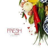Um punhado de cebolinha fresca e legumes — Foto Stock