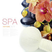 Spa composition with beautiful orchid — Stok fotoğraf