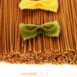 Stock Photo: Whole wheat spaghetti and Farfalle pasta