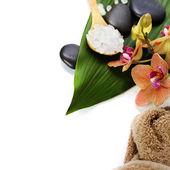 Composición de spa con hermosas orquídeas — Foto de Stock