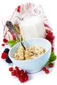 Healthy breakfast with bowl of oat flakes — Stockfoto