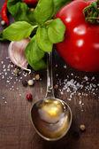 Cucchiaio di olio d'oliva e ortaggi — Foto Stock