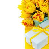 Yellow tulips and gift box — Stock Photo