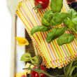 Stock Photo: Raw colorful lasagnsheets