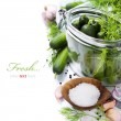 Preparing preserves of pickled cucumbers — Stock Photo