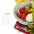 Caprese - Italian salad with tomatos and mozarella cheese — Stock Photo