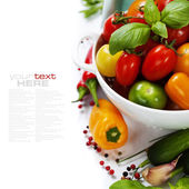 Assorted tomatoes and vegetables in colander — Stok fotoğraf