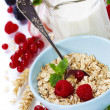 Healthy breakfast with bowl of oat flakes — Stock Photo #28885913