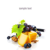 Wine, cheese and grape — Stock Photo