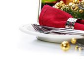 Ajuste de lugar de mesa de natal — Fotografia Stock