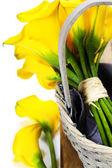 Beautiful calla lilies bouquet — Stock Photo