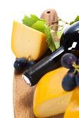 Vinho, queijo e uvas — Foto Stock