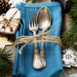Christmas table place setting — Stock Photo