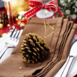Christmas table place setting — Stok fotoğraf
