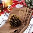Christmas table place setting — ストック写真