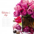 Pink tulips Valentine's day — Stock Photo