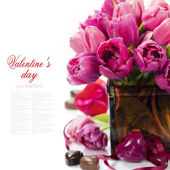 розовые тюльпаны валентина — Стоковое фото