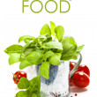 Fresh basil in the pot and italian ingredients — Stockfoto