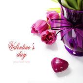 Pink tulips Valentine's day — Stock Photo