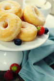Coffe and fresh donuts — Stock Photo