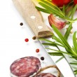 Traditional sliced meat sausage salami and vegetables — Stock Photo