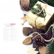 Christmas gift and decorations — Stok fotoğraf