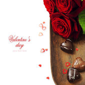 St. Valentine's Day roses and chocolate — Stok fotoğraf