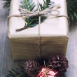 Christmas gift and decorations — Stock Photo