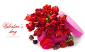 Valentine composition with red tulips — Stock Photo