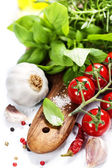 Basil and fresh vegetables — Stock Photo