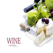 Wine, grape and cheese — Photo
