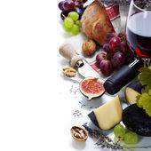 Wine, grape and cheese — Stockfoto