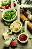 Pasta and italian ingredients — Stock Photo
