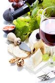 Wine, grape and cheese — Stock Photo