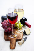 Wine, grape and cheese — Photo