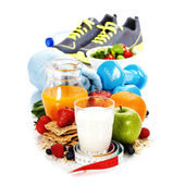 Different tools for sport and healthy food — Stock Photo