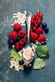 Breakfast with oats and berries — Photo