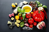 Italian ingredients - pasta, vegetables, spices, cheese — Stock Photo