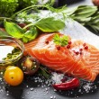Delicious  portion of  fresh salmon fillet  with aromatic herbs, — Stock Photo #47684611